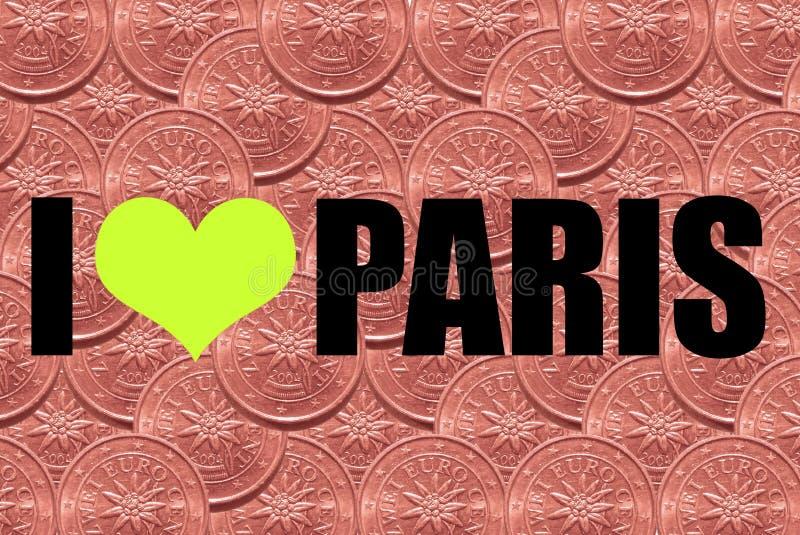 Inskriften 'älskar jag Pariss in svarta stilsort på en bakgrund av två eurocent royaltyfria foton