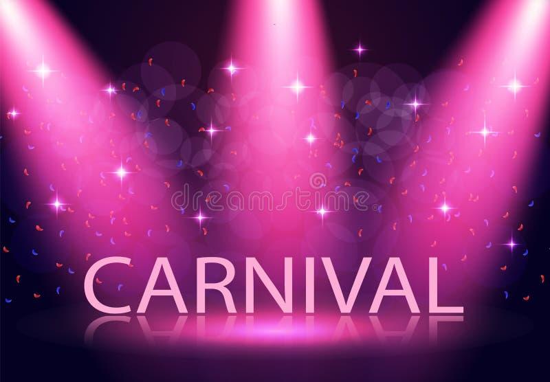 Inskriften är karnevalet Etappbelysning, podium, strålkastare Konfetti flyger Purpurfärgad bakgrund illustration vektor illustrationer