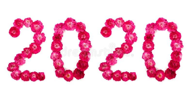 Inskriften 2020 från nya rosa färger och röd ros blommar arkivfoto
