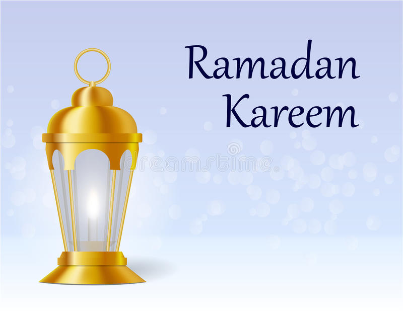 Inskriften på kortet är Ramadan Kareem Lykta i orientalisk stil illustration stock illustrationer