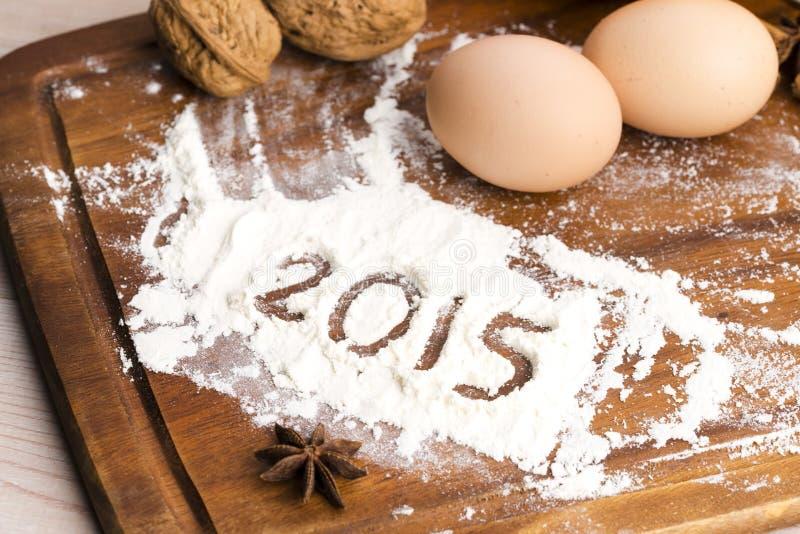 Inskriften på mjölet - 2015 fotografering för bildbyråer