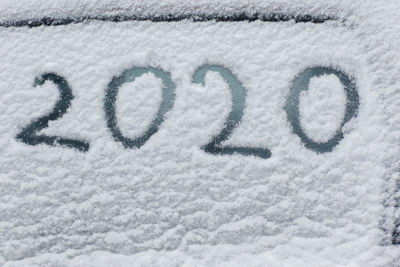 Inskriften på snön 2020 placera text royaltyfri fotografi