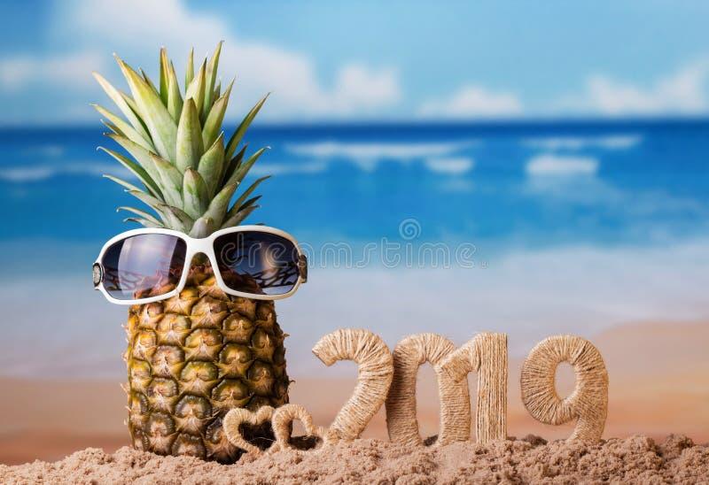 Inskriften 2019 på stranden mot havet och ny ananas i solglasögon arkivbild