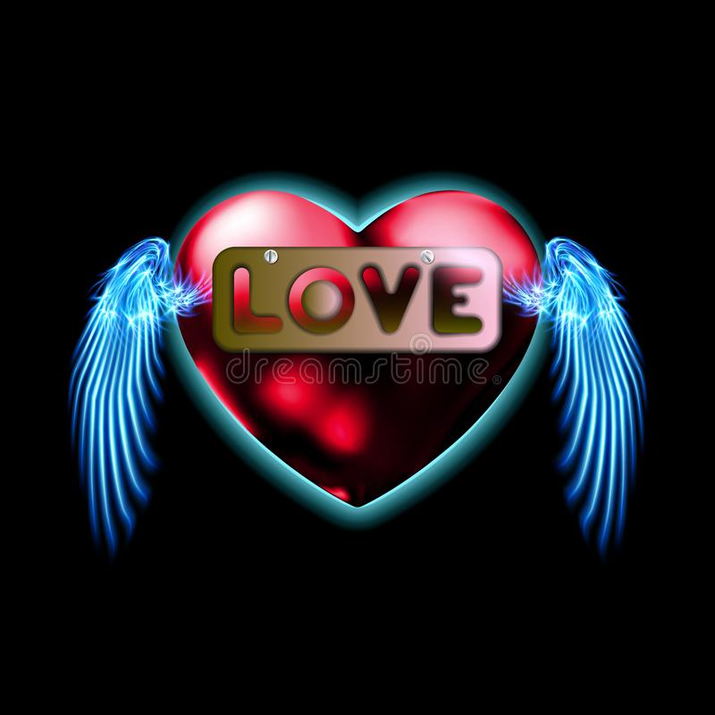 Inskriftförälskelse, i hjärta, plattasymbol i svart backgroound Tecken f?r symbolvalentindag, emblem Stil för diagram och rengöri vektor illustrationer