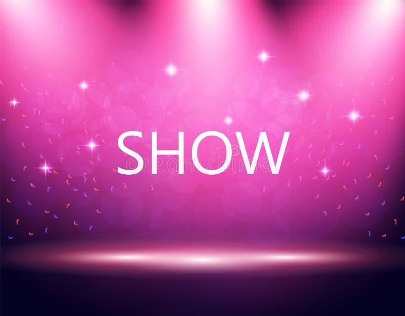 Inskriftshow Belysning av etappen, podium, strålkastare Konfetti flyger Purpurfärgad bakgrund illustration royaltyfri illustrationer