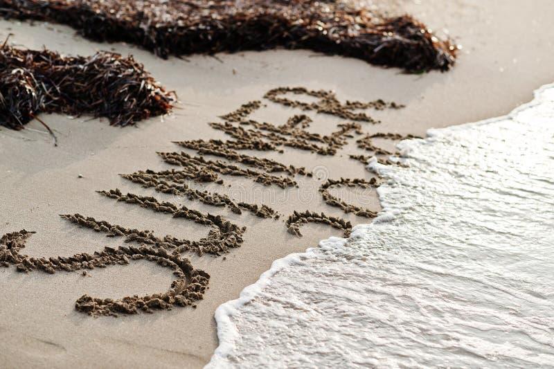 Inskriftsommar som täckas av havswawes och alger på sanden på stranden royaltyfria bilder