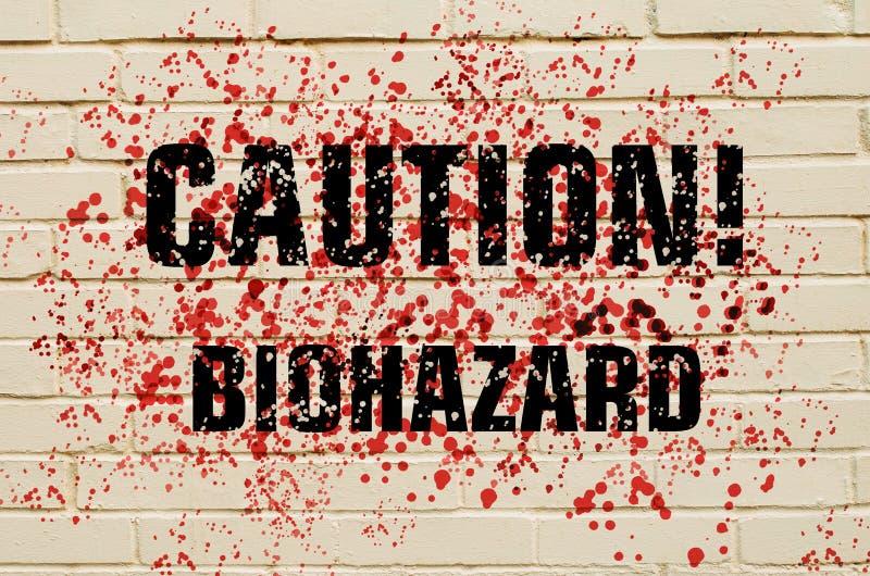 InskriftvarningsBiohazard på en blodbefläckad tegelstenvägg stock illustrationer