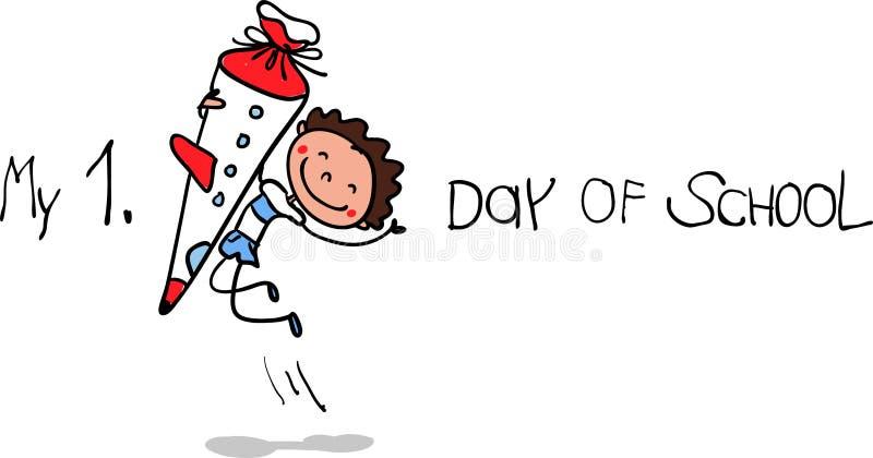 Inskrivning - första dag av skola - lycklig första väghyvel med skolakotten som hoppar för glädje royaltyfri illustrationer