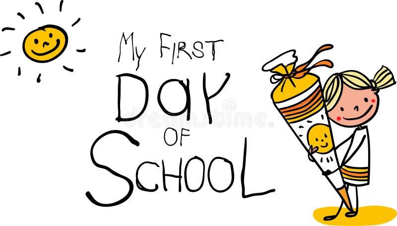 Inskrivning - första dag av skola - solig le skolflicka med skolakotten - utdragen tecknad film för färgrik hand vektor illustrationer