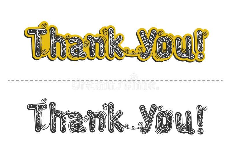 Inskrypcja Dziękuje ciebie bardzo mocno, wektor ilustracji