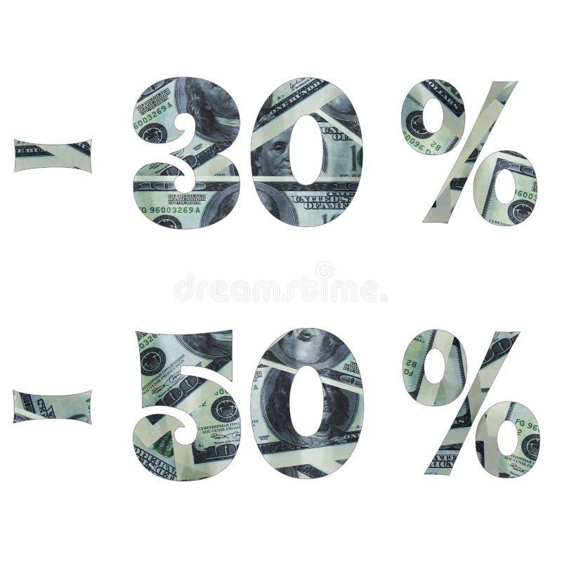 Inskrypcja interes w sprzedaży z wizerunkiem dolary wśrodku fotografia royalty free