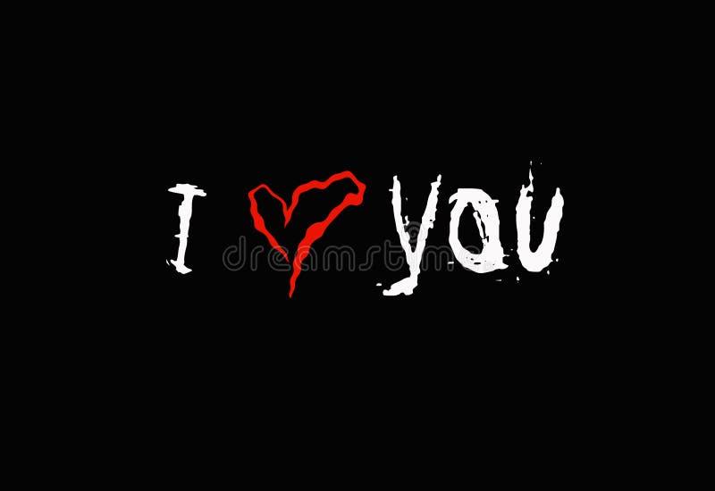 Inskrypcja kocham ciebie na czarnym tle zdjęcie royalty free