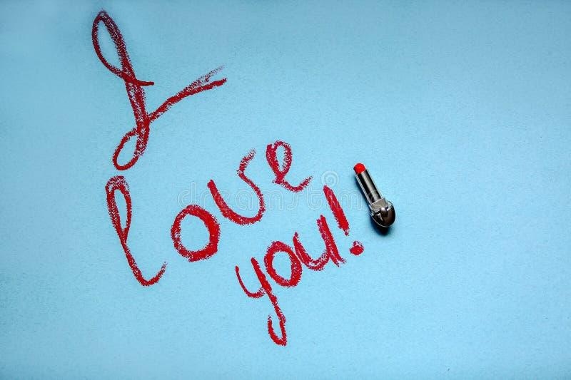 Inskrypcja na turkusowym tle: Kocham ciebie! fotografia royalty free