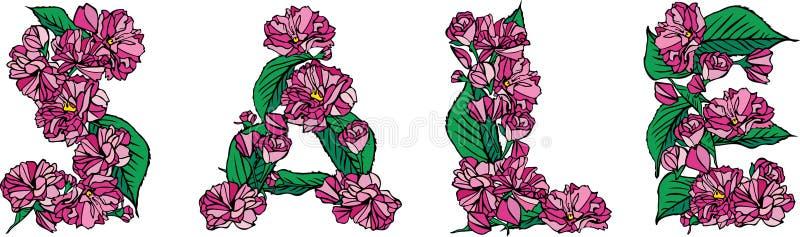 Inskrypcja od kwiatów, pączki i liście różowy Sakura, formułujemy sal royalty ilustracja