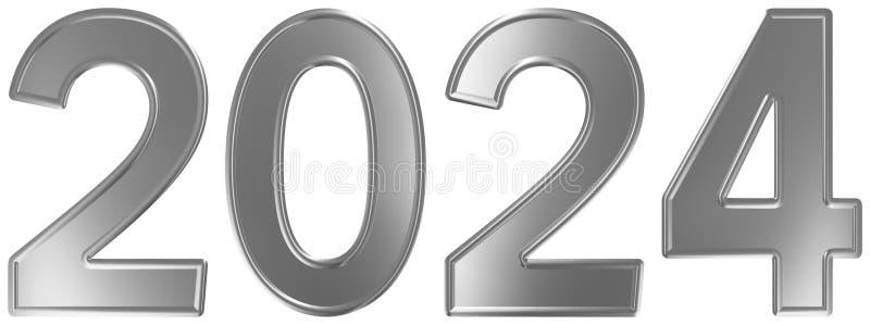 2024 inskrypcja, odizolowywająca na białym tle, 3d odpłaca się royalty ilustracja