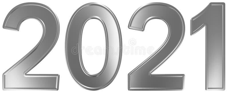 2021 inskrypcja, odizolowywająca na białym tle, 3d odpłaca się ilustracja wektor