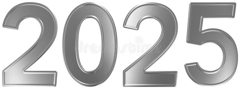 2025 inskrypcja, odizolowywająca na białym tle, 3d odpłaca się ilustracja wektor
