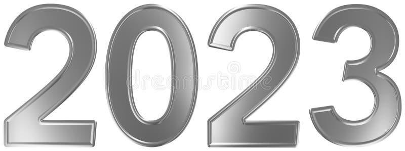 2023 inskrypcja, odizolowywająca na białym tle, 3d odpłaca się royalty ilustracja