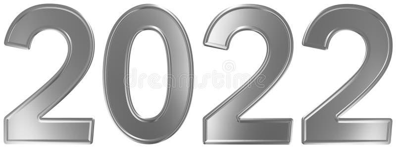 2022 inskrypcja, odizolowywająca na białym tle, 3d odpłaca się ilustracja wektor
