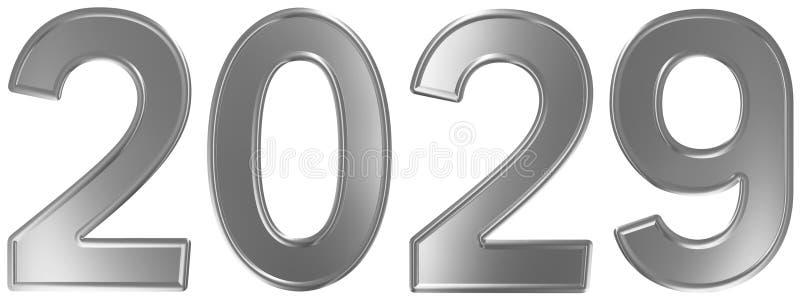 2029 inskrypcja, odizolowywająca na białym tle, 3d odpłaca się royalty ilustracja