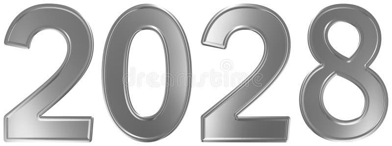 2028 inskrypcja, odizolowywająca na białym tle, 3d odpłaca się ilustracja wektor