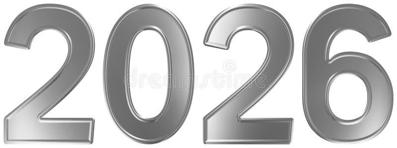 2026 inskrypcja, odizolowywająca na białym tle, 3d odpłaca się ilustracji