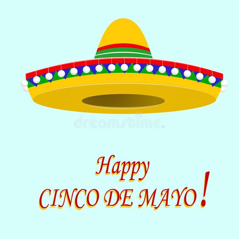 Inskrypcja szczęśliwy Cinco De Mayo sombrero ilustracja