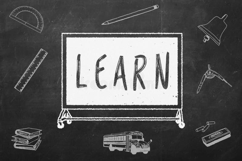 Inskrypcja: uczy się pisać na czarnym chalkboard jest edukacja starego odizolowane pojęcia ilustracja wektor