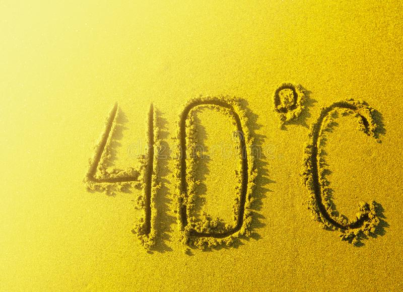 Inskrypcja w stopnia upale na gorącym piasku na plaży obrazy stock