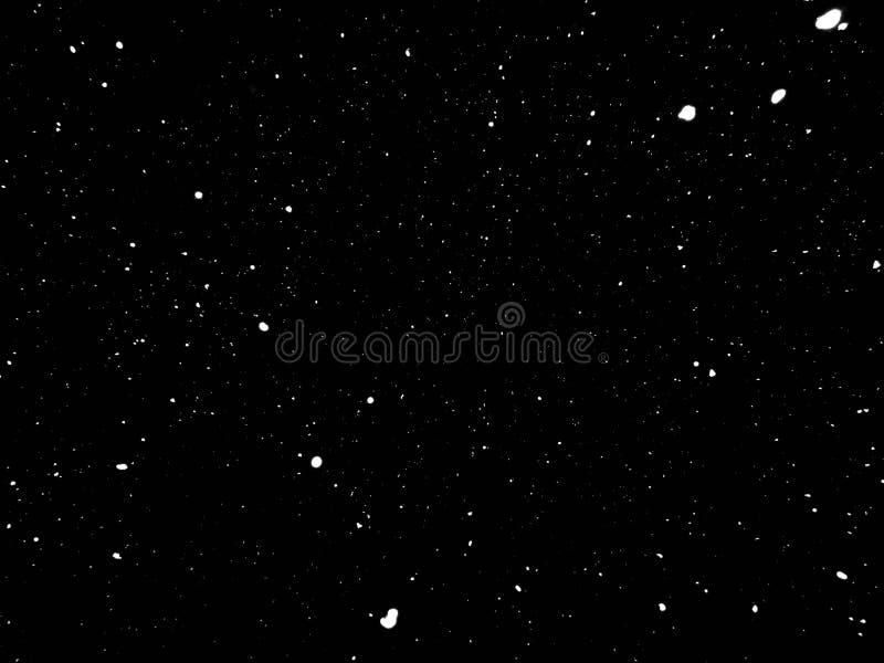 Insnöad natt snö på svart bakgrund royaltyfri foto