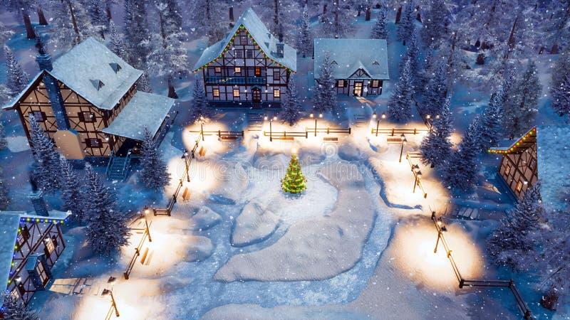 Insnöad by på den flyg- sikten för julnatt vektor illustrationer