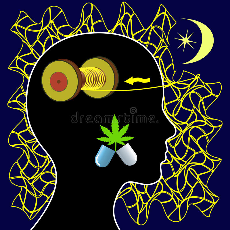 Insomnia and Marijuana. Woman taking medical cannabis for the treatment of sleeplessness or mental unrest royalty free illustration
