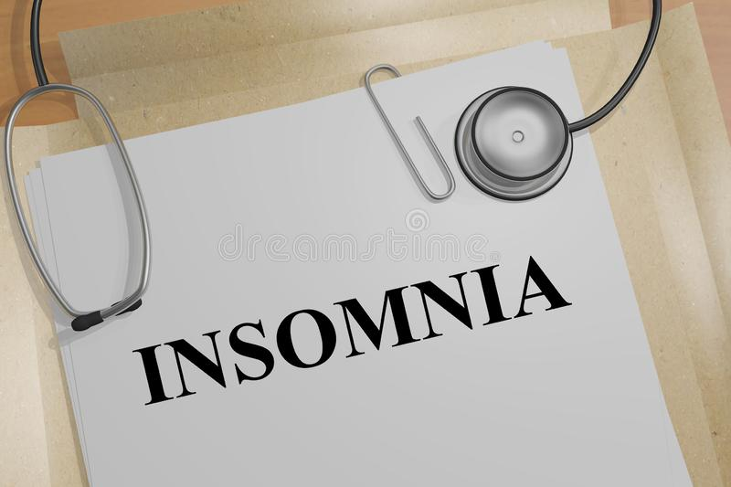 INSOMNIA - medical concept. 3D illustration of INSOMNIA title on a medical document, alone, anxiety, awake, bad, concern, depressed, depression, difficulty royalty free illustration