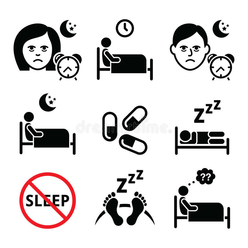 Insomnia, people having trouble with sleeping icons set. Health icons set - sleep disorder, insomnia icons set isolated on white royalty free illustration