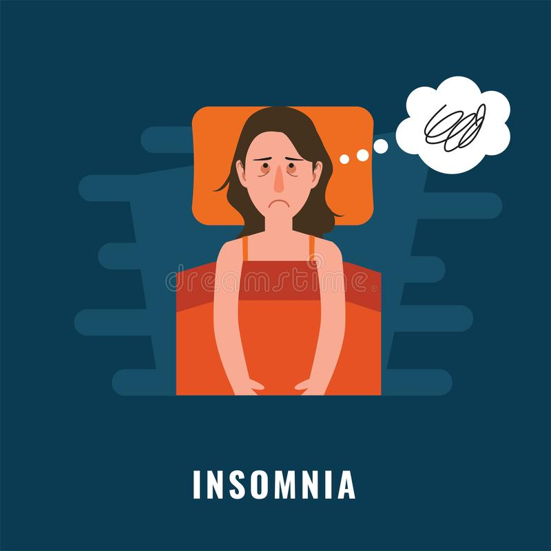 insomnia Sova oordningillustrationen royaltyfri illustrationer
