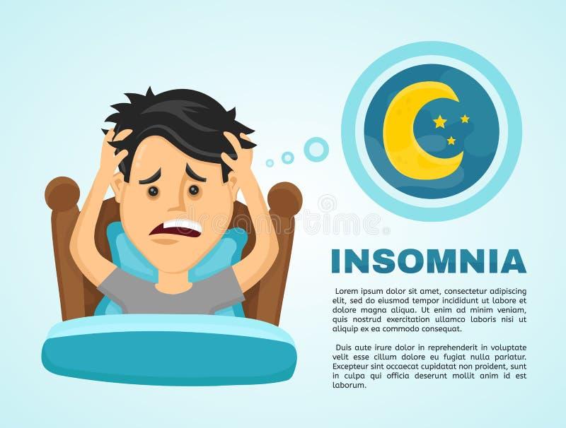 Insomnio infographic El hombre joven sufre stock de ilustración