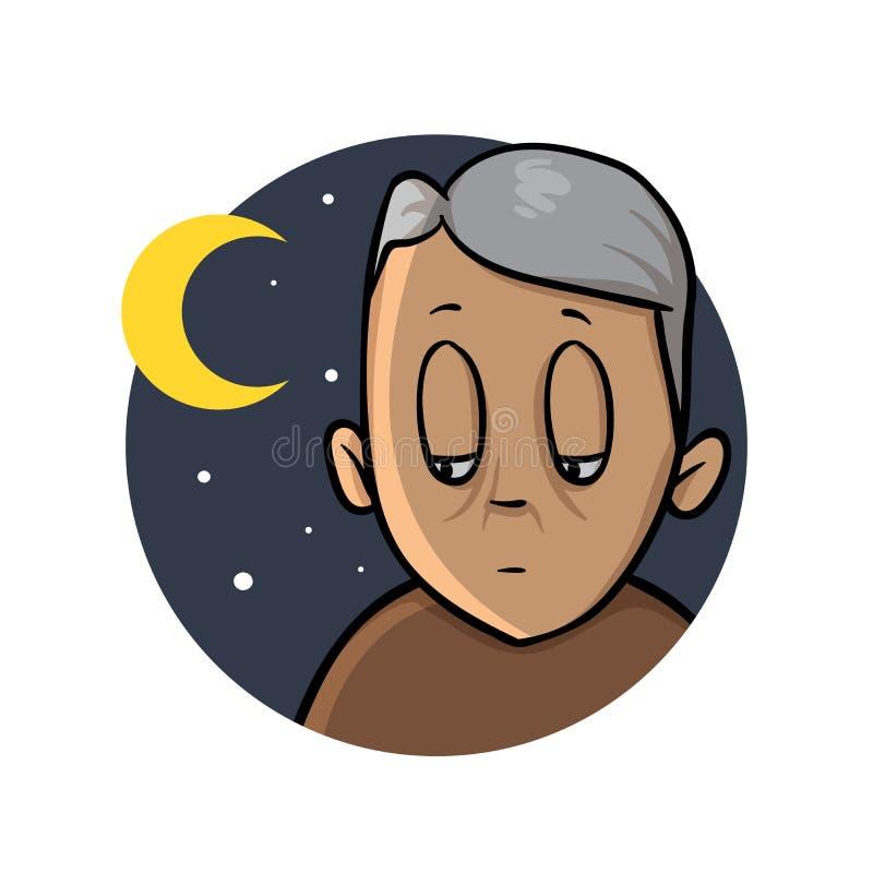 Insomnio, insomnio Viejo hombre para arriba en la noche Icono del diseño de la historieta Ejemplo plano del vector Aislado en bla ilustración del vector