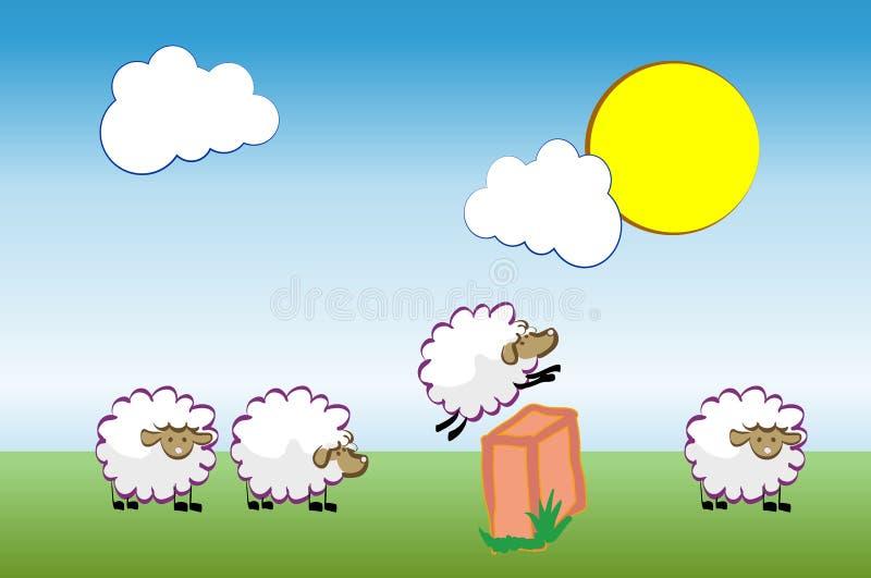 insonnia Le pecore che saltano sopra la rete fissa illustrazione vettoriale