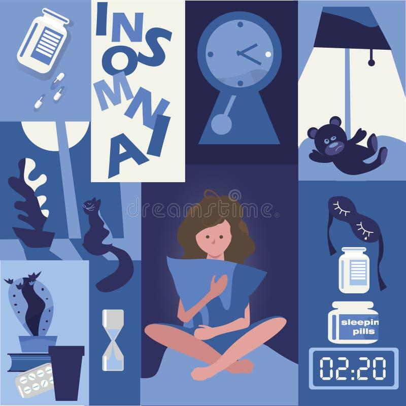 insonnia problema di sonno la ragazza sta tenendo un cuscino Sonniferi in pillole royalty illustrazione gratis