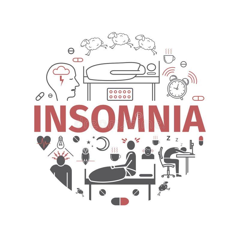 Insonnia, sintomi Icone piane messe Segni di vettore per i grafici di web illustrazione di stock