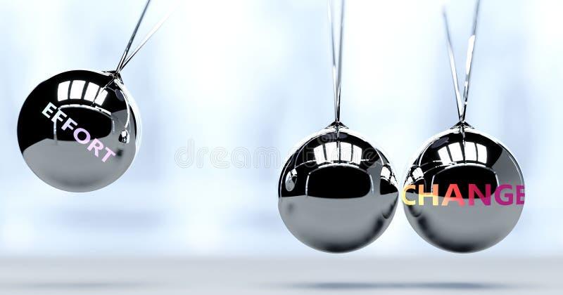 Inspanningen en nieuwjaarsveranderingen - voorgesteld als een woord Inspanning en een Newton-wieg, om te symboliseren dat inspann vector illustratie