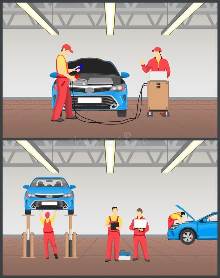 Inspeção da suspensão da manutenção e do carro do motor ilustração royalty free