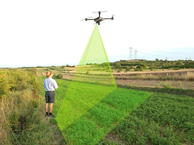 inspeção infravermelha da agricultura do zangão das colheitas imagem de stock