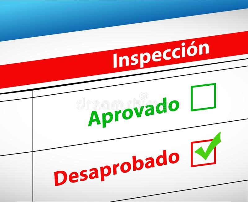 A inspeção resulta passado ou falha ilustração do vetor