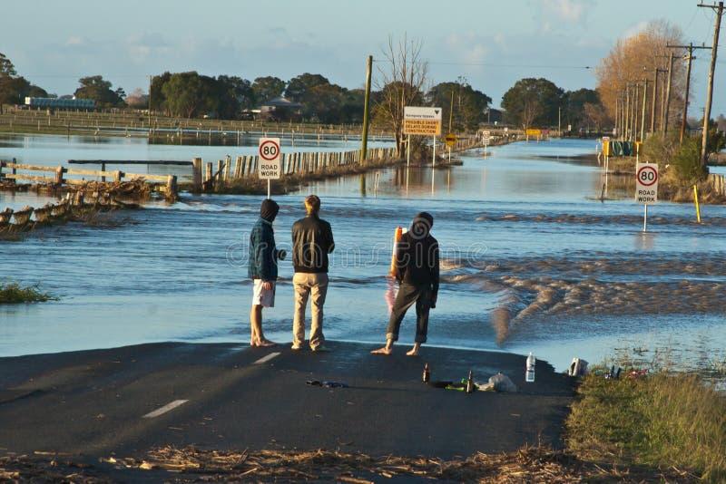 Inspecionando a inundação foto de stock