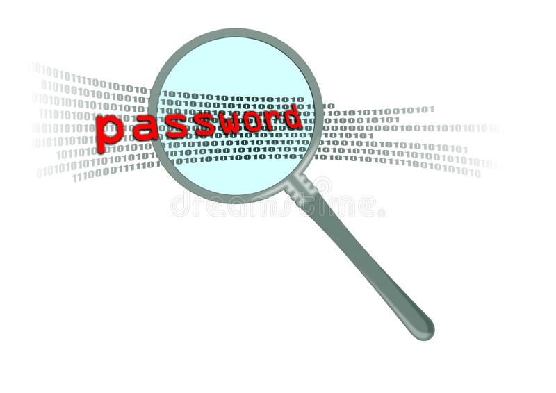 Inspect Password In Magnifier Stock Photography