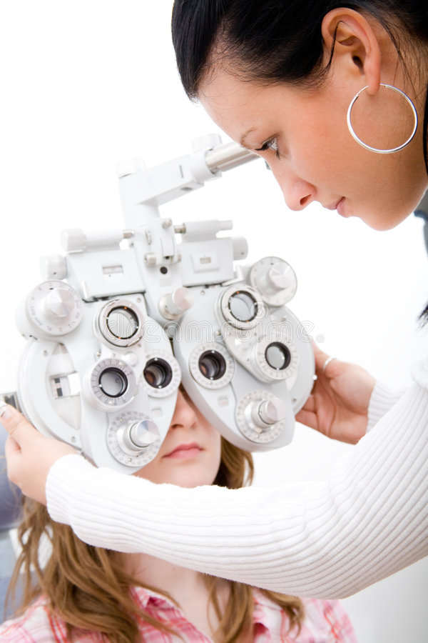 Inspect a patient in ophthalmology labor stock images