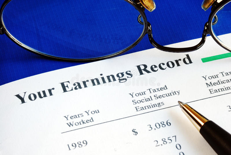 Inspect the Social Security earning report royalty free stock images