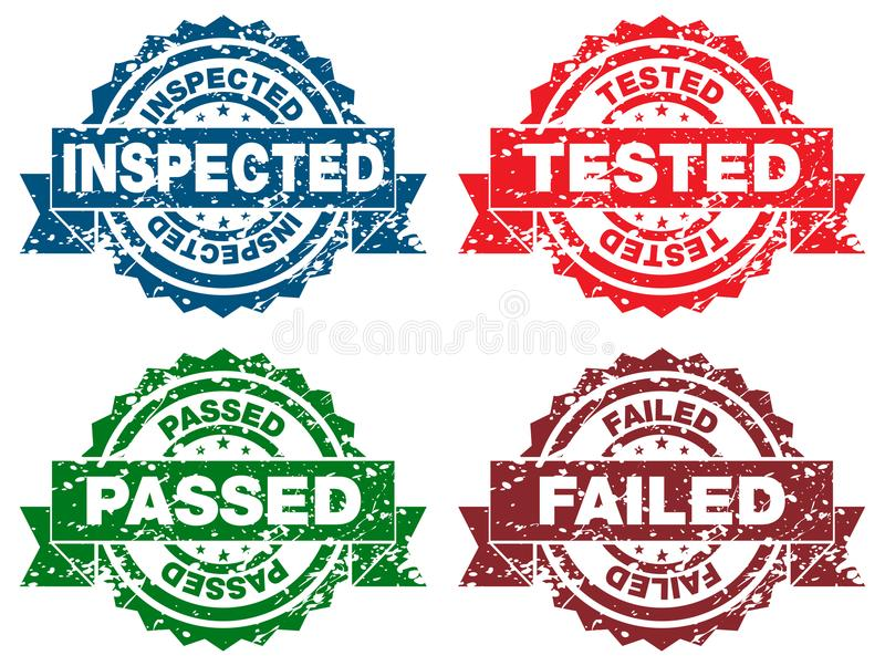 Inspected Tested Passed Failed Stamps. An image of a Inspected Tested Passed Failed Stamps icons vector illustration