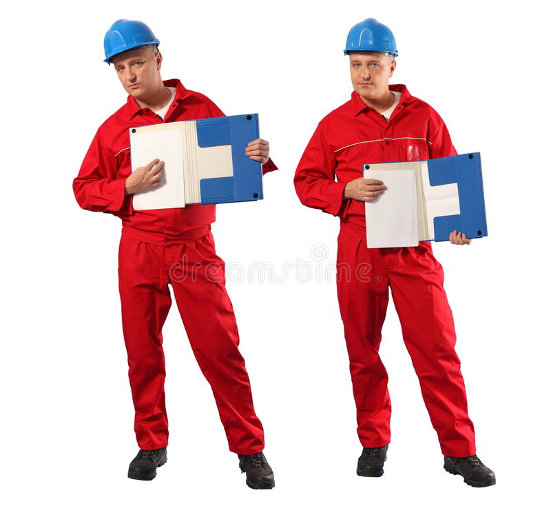 Inspecteur in rode eenvormige en blauwe bouwvakker stock fotografie